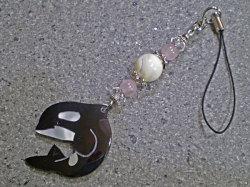 海からの贈り物★シェルストラップ/シャチ【マザーオブパール/ローズクォーツ/水晶】